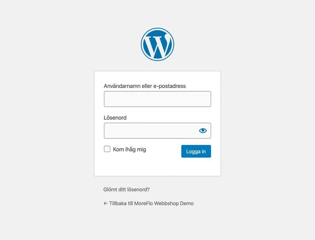 Logga in i WordPress